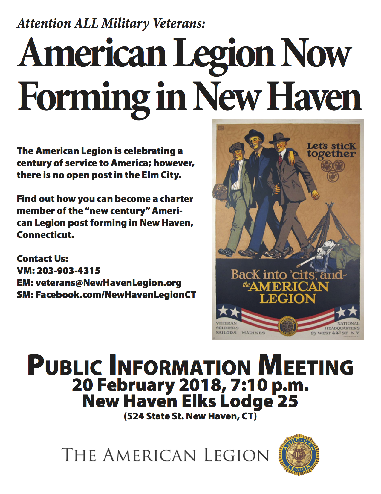 AMERICAN LEGION POST FORMING IN NEW HAVEN ANNOUNCES INFORMATIONAL MEETING